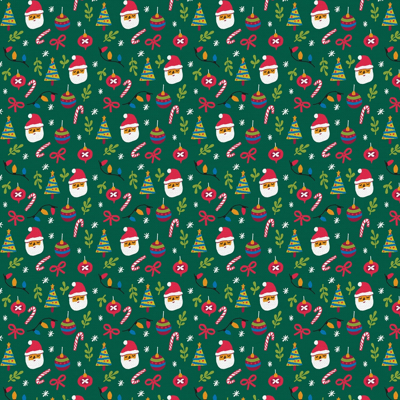 Christmas Sweater Cats - Santa Heads on Green - 1/2m cut 57590