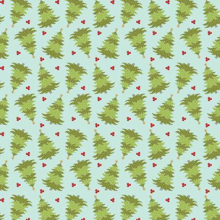 Light Teal Christmas Farm Fresh Trees - Heart and Home - 1/2m cut 57621
