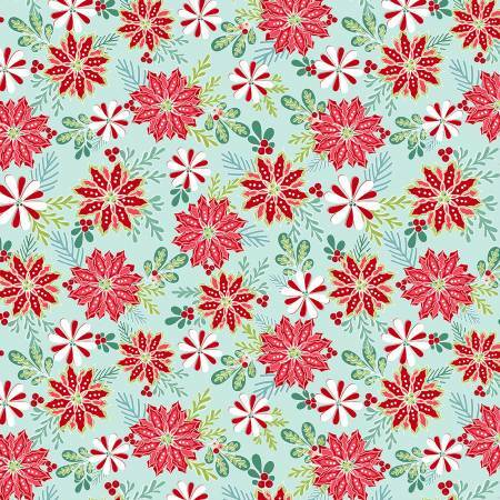 Light Teal Christmas Florals - Heart and Home - 1/2m cut 57624