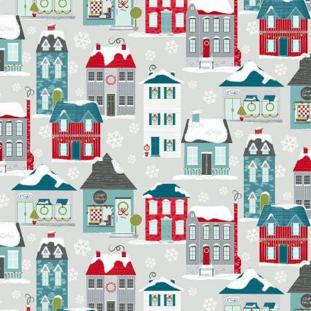 Light Grey Christmas Home Town Village - Heart and Home - 1/2m cut 57617
