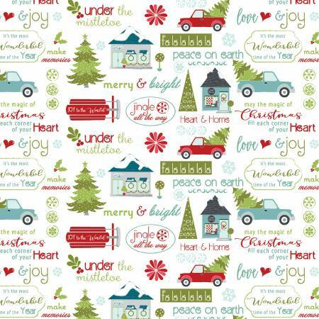 White Christmas Sentiments - Heart and Home - 1/2m cut 57619