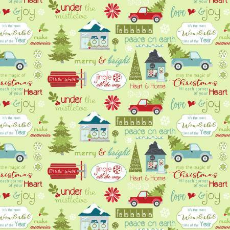 Light Green Christmas Sentiments - Heart and Home - 1/2m cut 57618