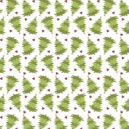 White Christmas Farm Fresh Trees - Heart and Home - 1/2m cut 57622
