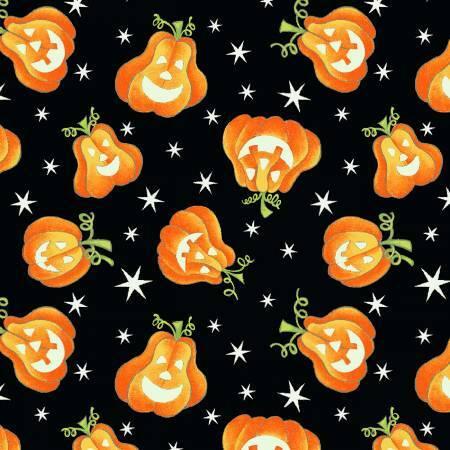 Here We Glow - Pumpkins on Black - GLOW IN THE DARK - 1/2m cut 57665