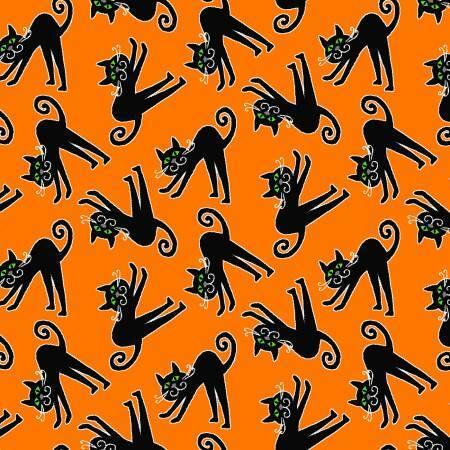 Here We Glow - Cats on Orange - GLOW IN THE DARK - 1/2m cut 57668