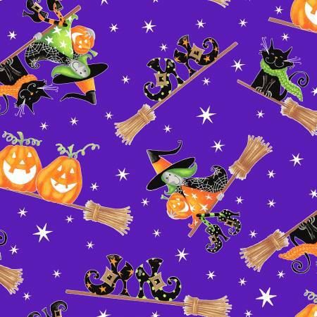 Here We Glow - Witches on Purple - GLOW IN THE DARK - 1/2m cut 57670