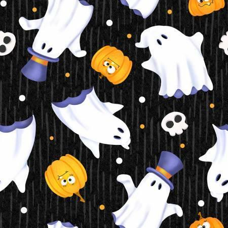 Glow Ghosts - Ghosts on Black - GLOW IN THE DARK - 1/2m cut 57672