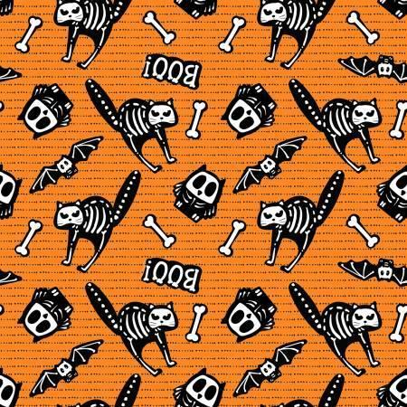 Glow Ghosts - Orange Cats - GLOW IN THE DARK - 1/2m cut 57673