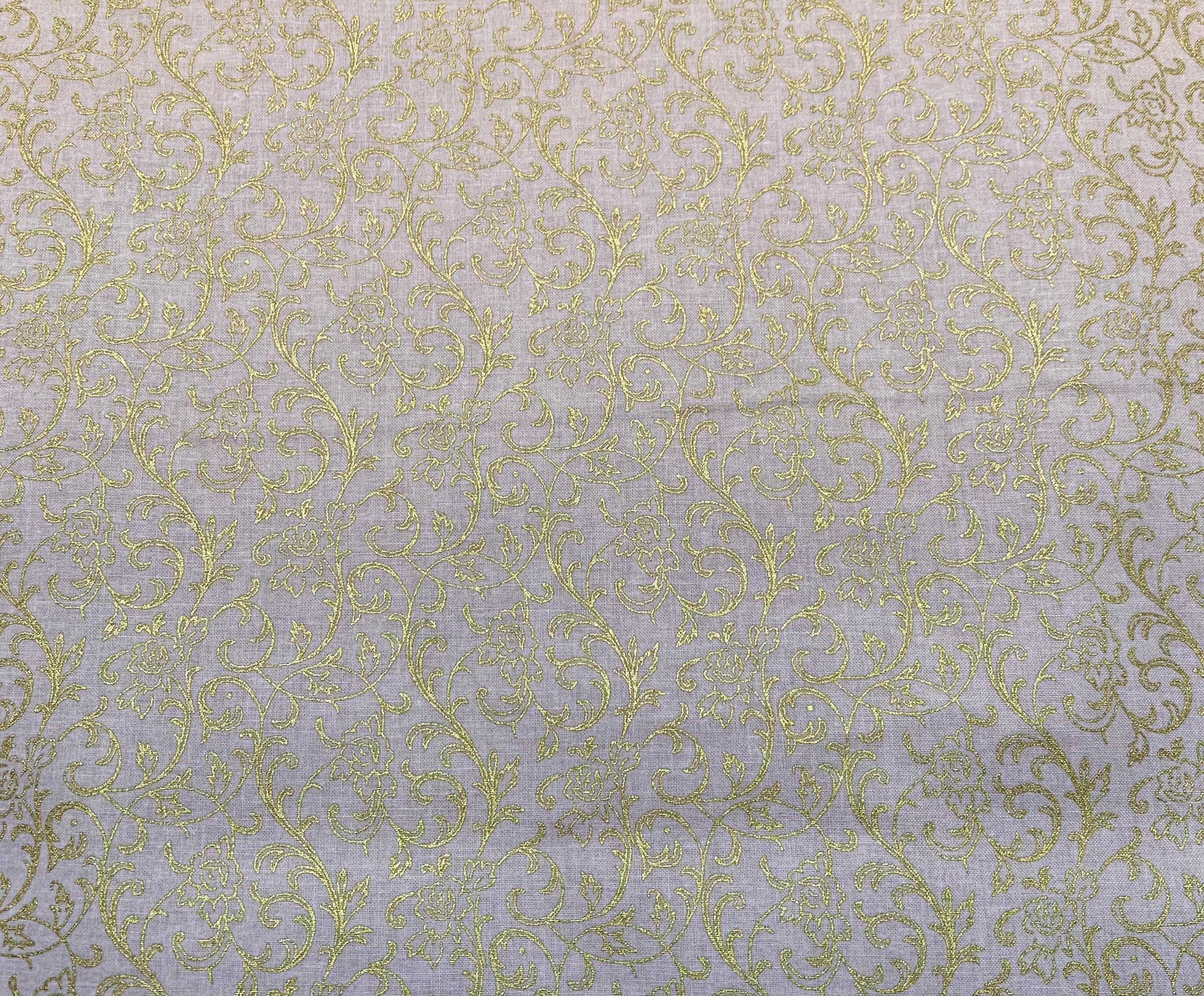 Gold Filigree on Tan - 1/2m cut 57720
