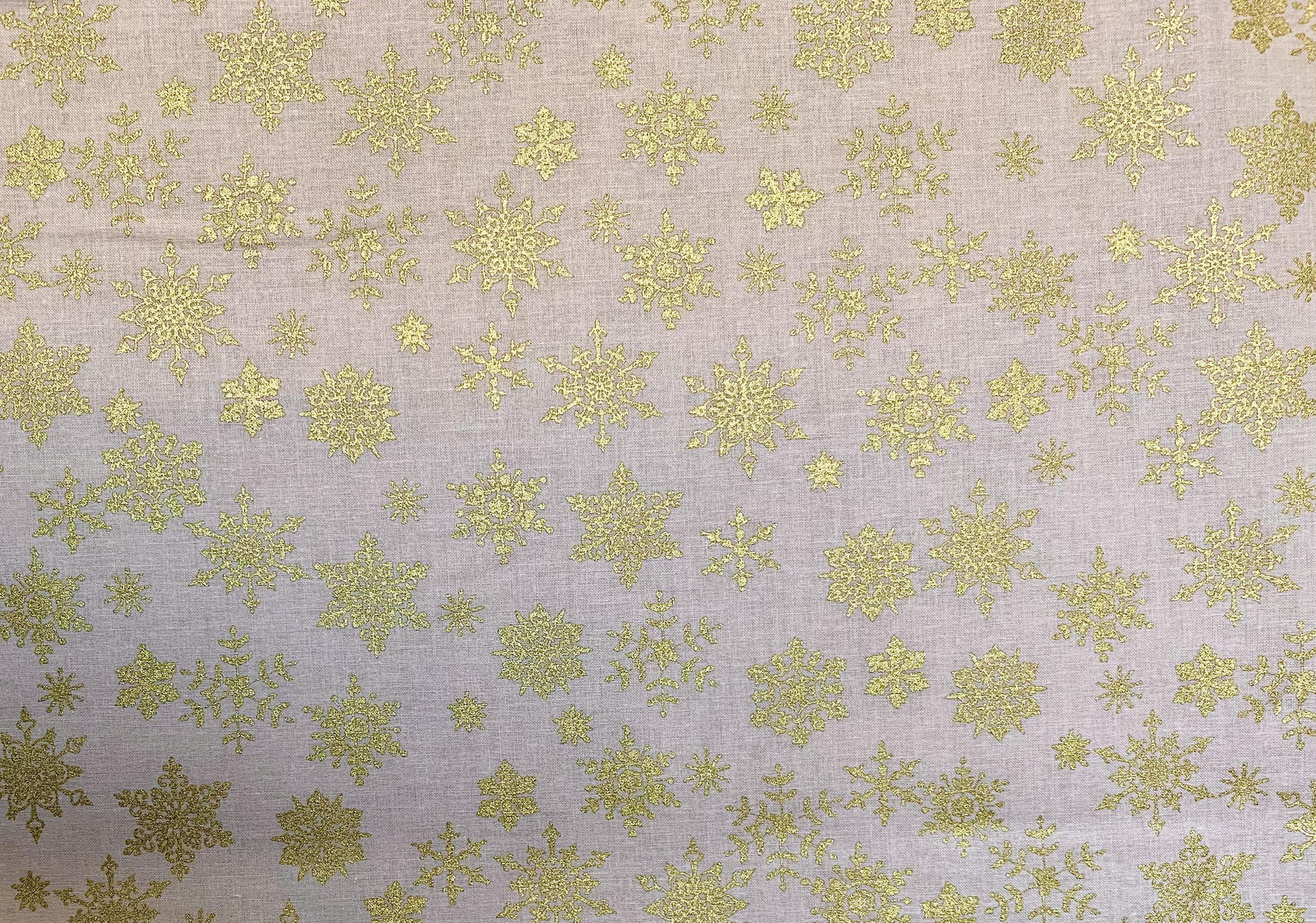 Gold Snowflakes on Tan - 1/2m cut 57721