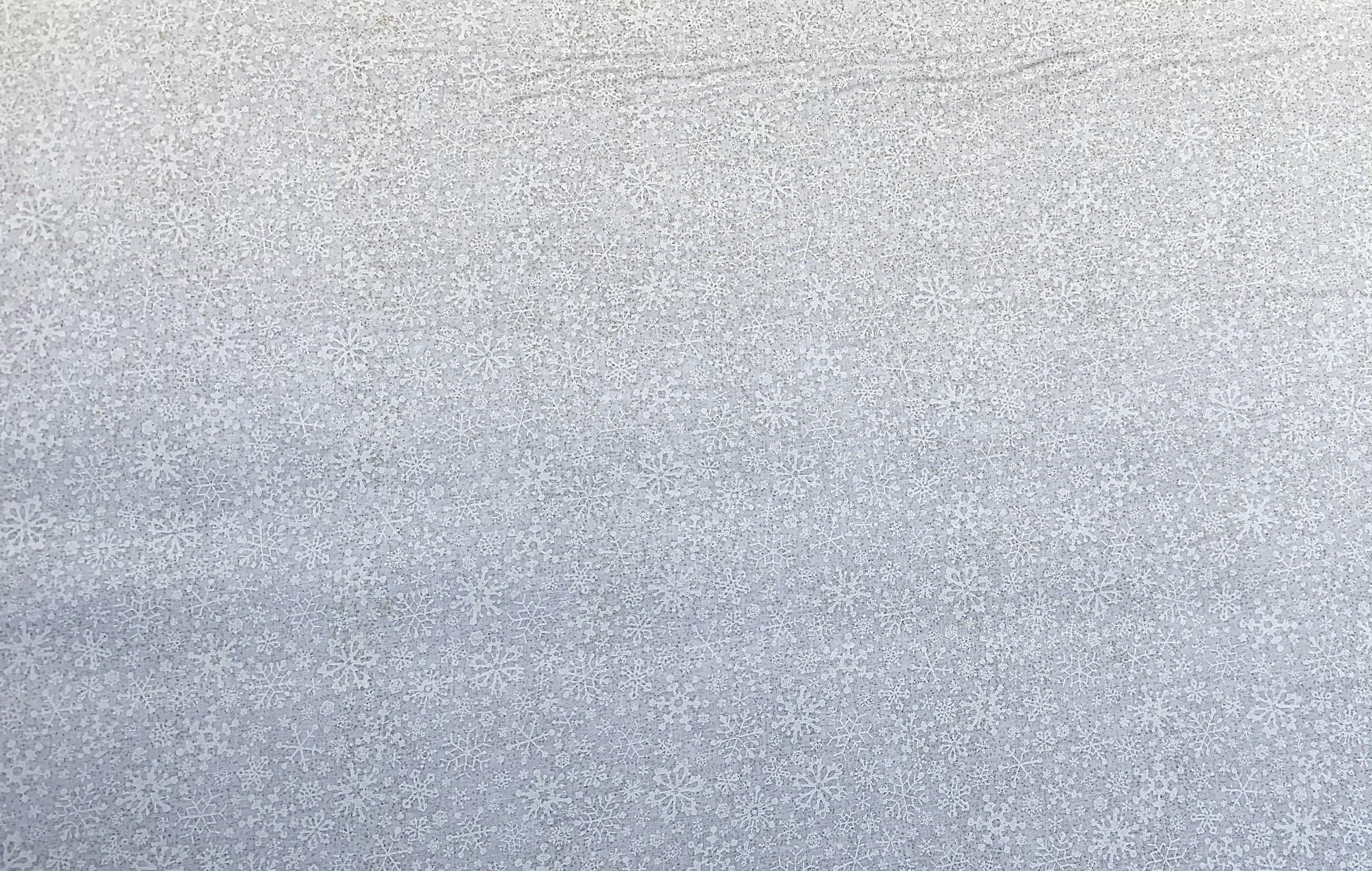White Tone on Tone - Snowflakes with Gold Metallic - 1/2m cut 57722