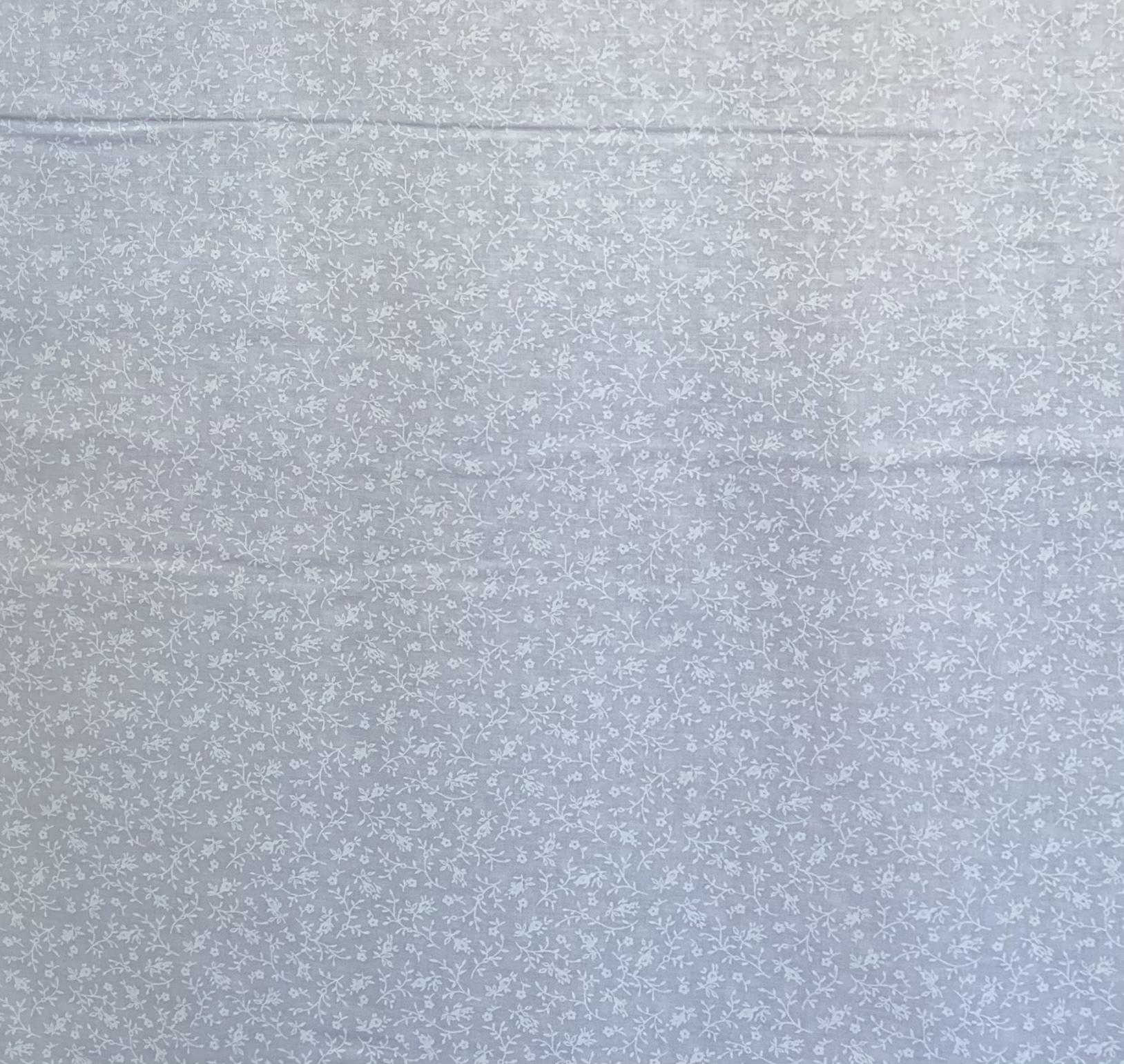 White Tone on Tone - Big Flowers - 1/2m cut 57715