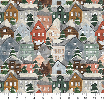 Winter Frost- Houses - 1/2m cut 57723