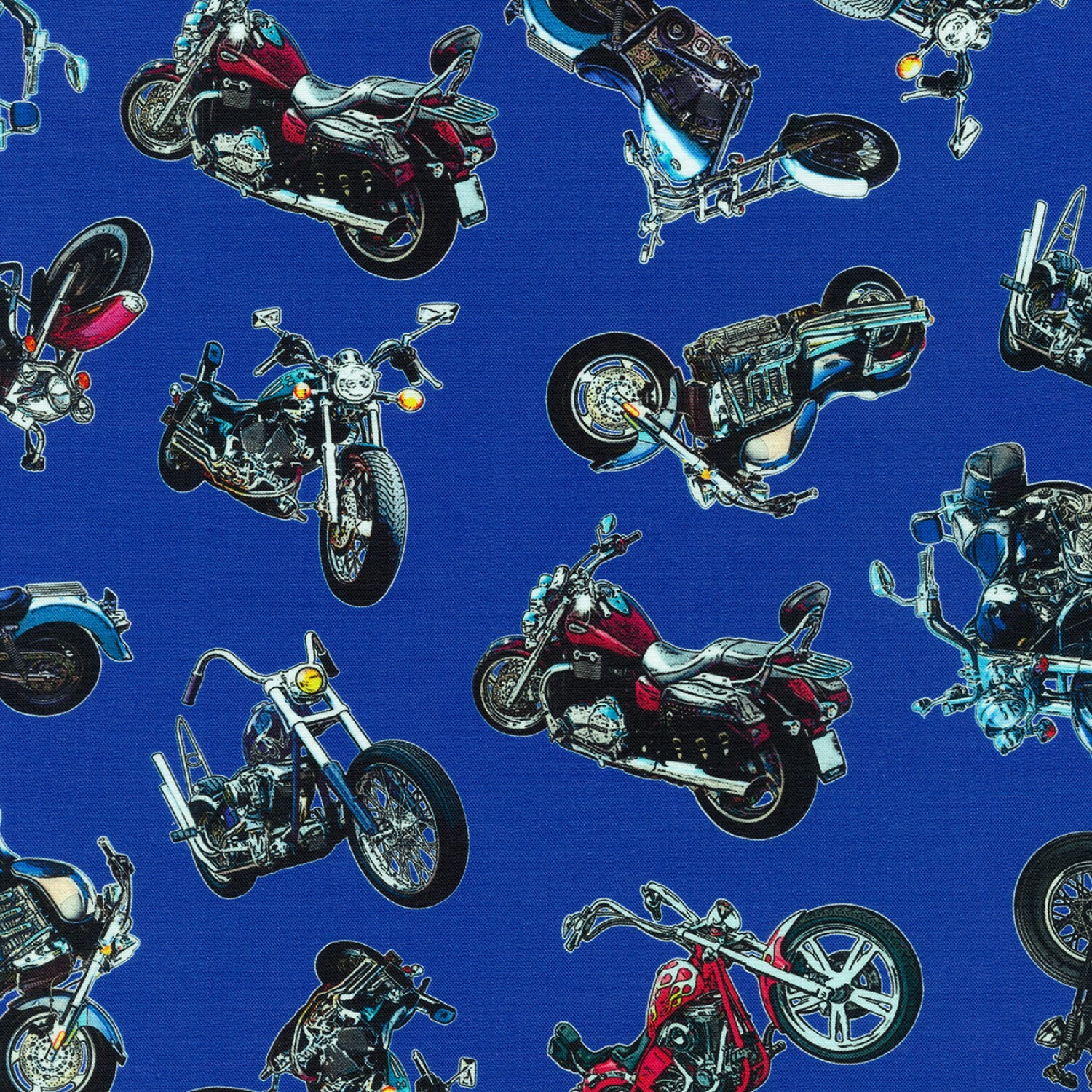 On the Road - Motorcycles on Royal Blue - 1/2m cut 57737