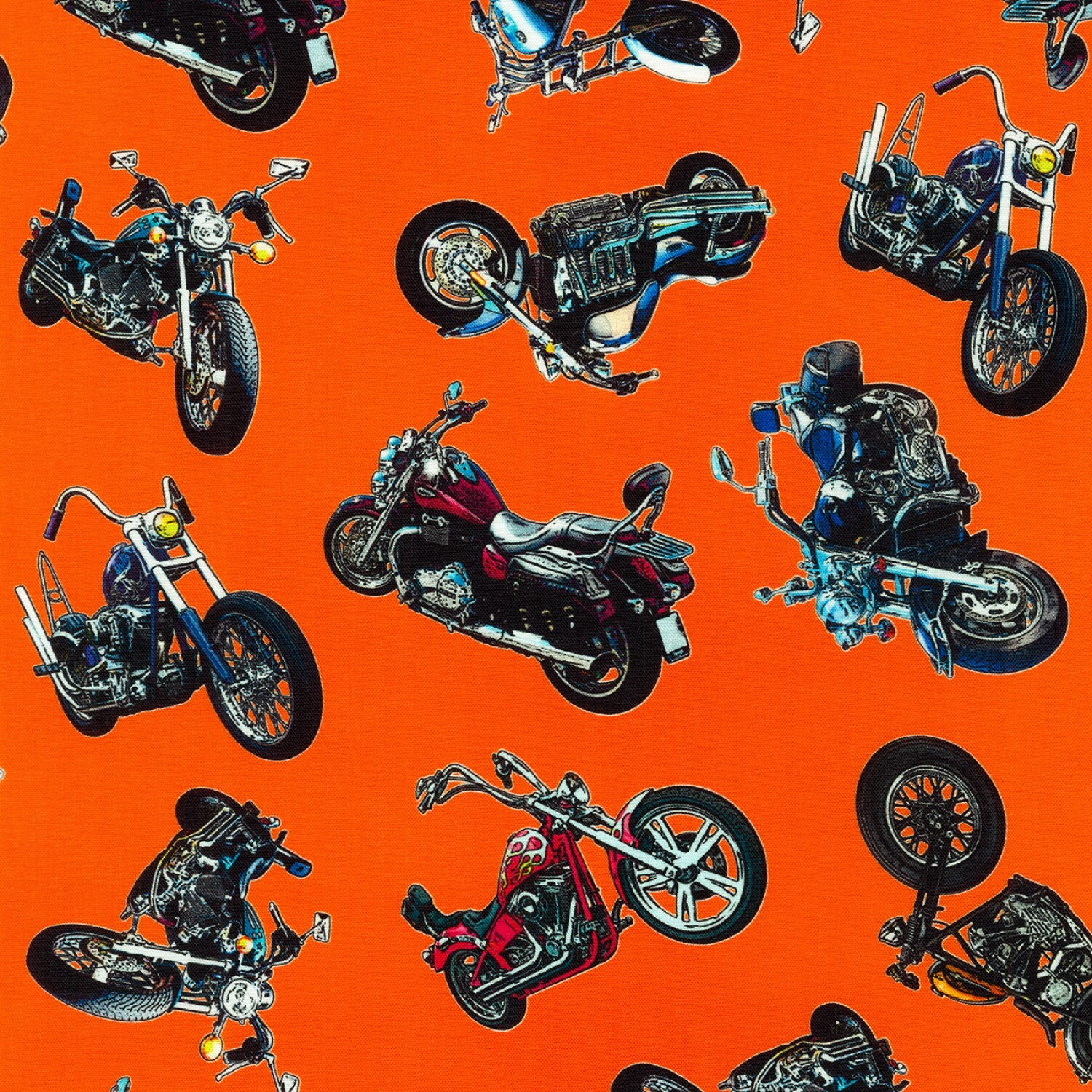 On the Road - Motorcycles on Orange - 1/2m cut 57735