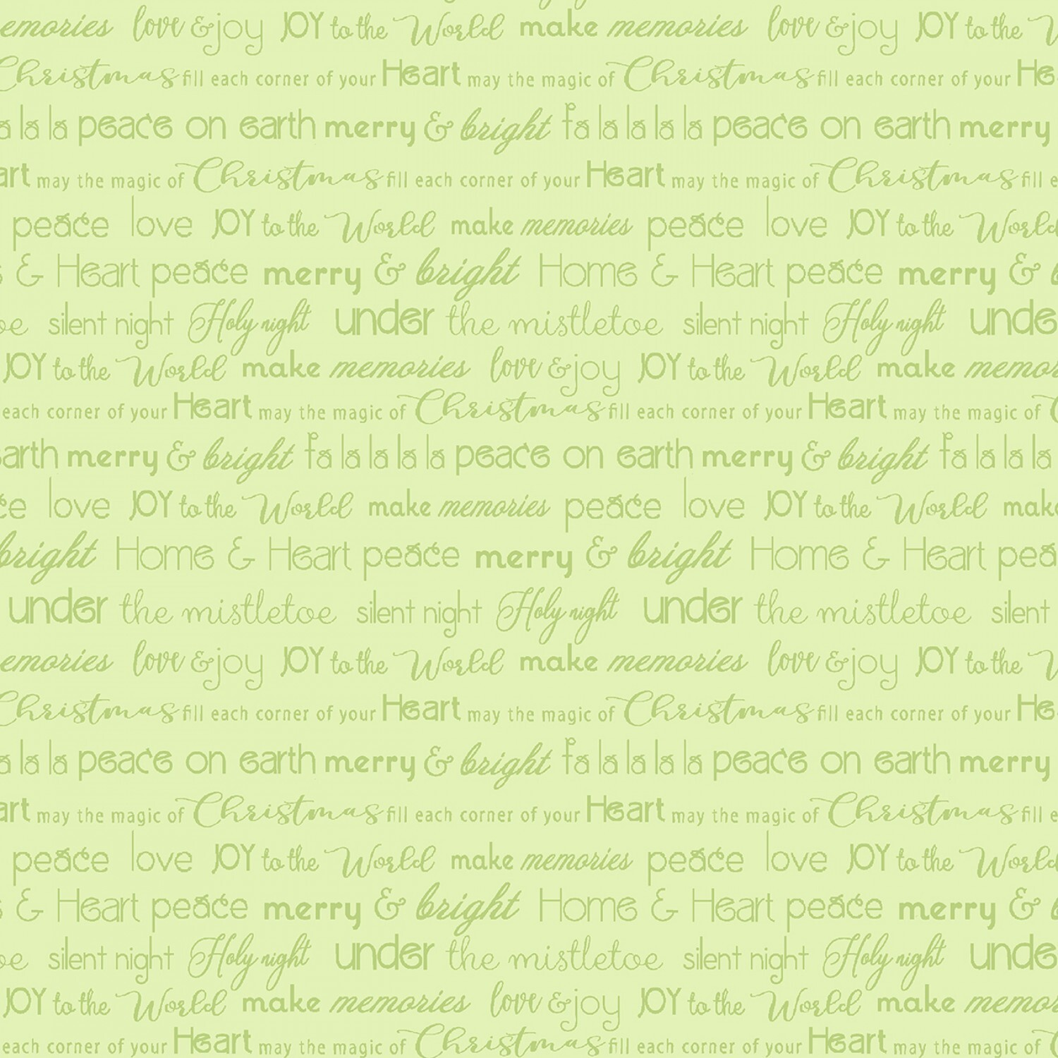 Light Green Christmas Words - Heart and Home - 1/2m cut 57738