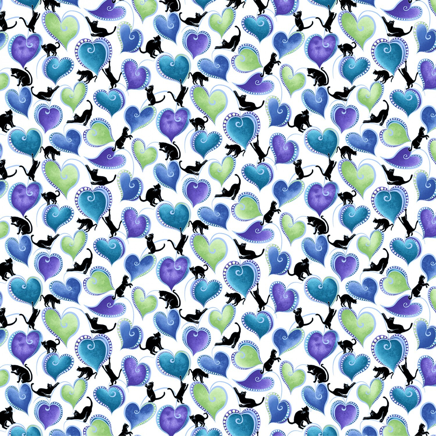 Catitude - Singing the Blues - Coloured Hearts and Cats - 1/2m cut 57740