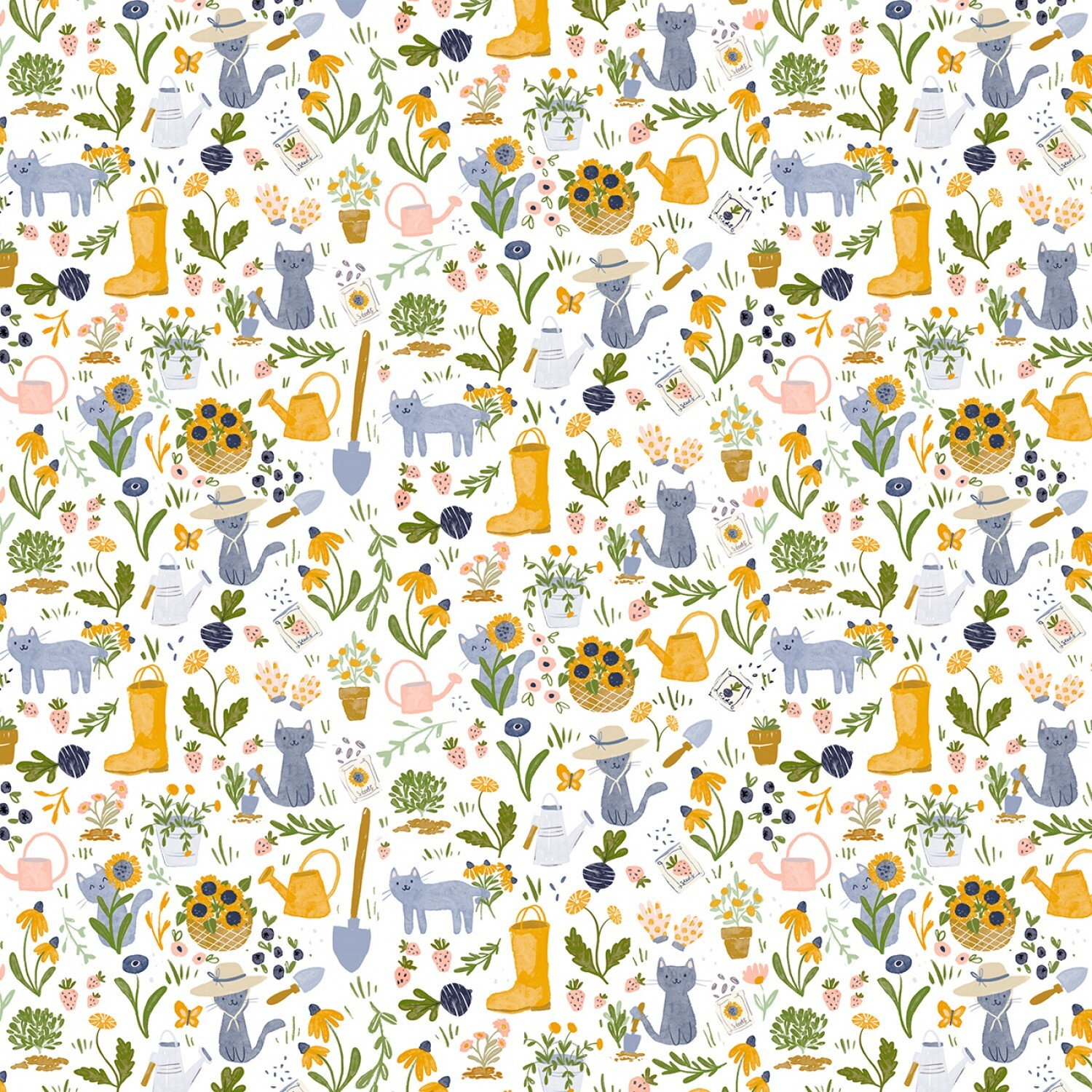 Meant to Bee - White Gardening Cats - 1/2m cut 57749