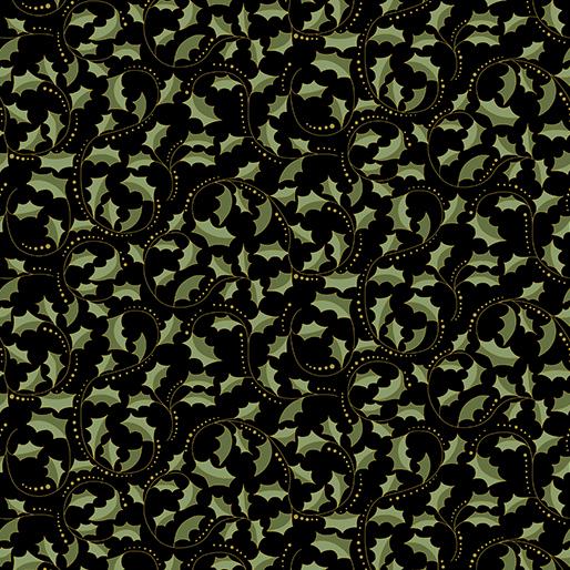Scroll on Black - Festive Chickadees - 1/2m cut 57760