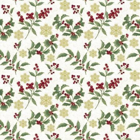 Holly on Cream - Festive Chickadees - 1/2m cut 57757