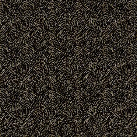 Pine Needles on Black - Festive Chickadees - 1/2m cut 57758