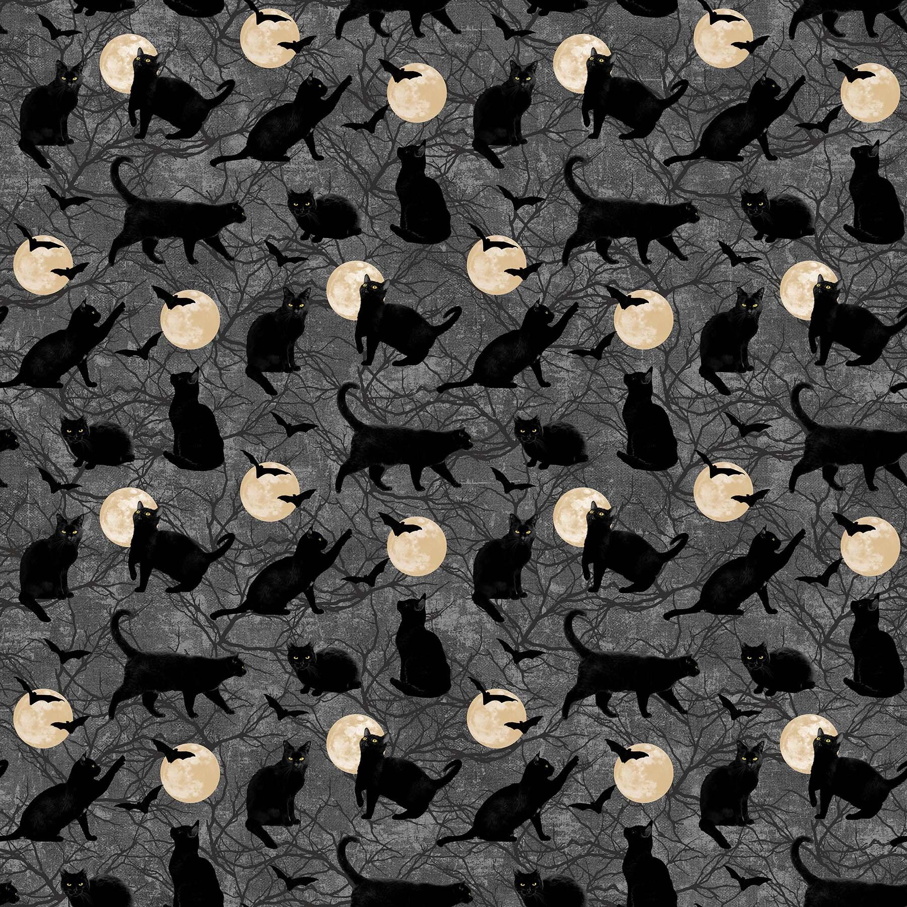 Black Cat Capers - Black Cats and Cream Moons - 1/2m cut 57888