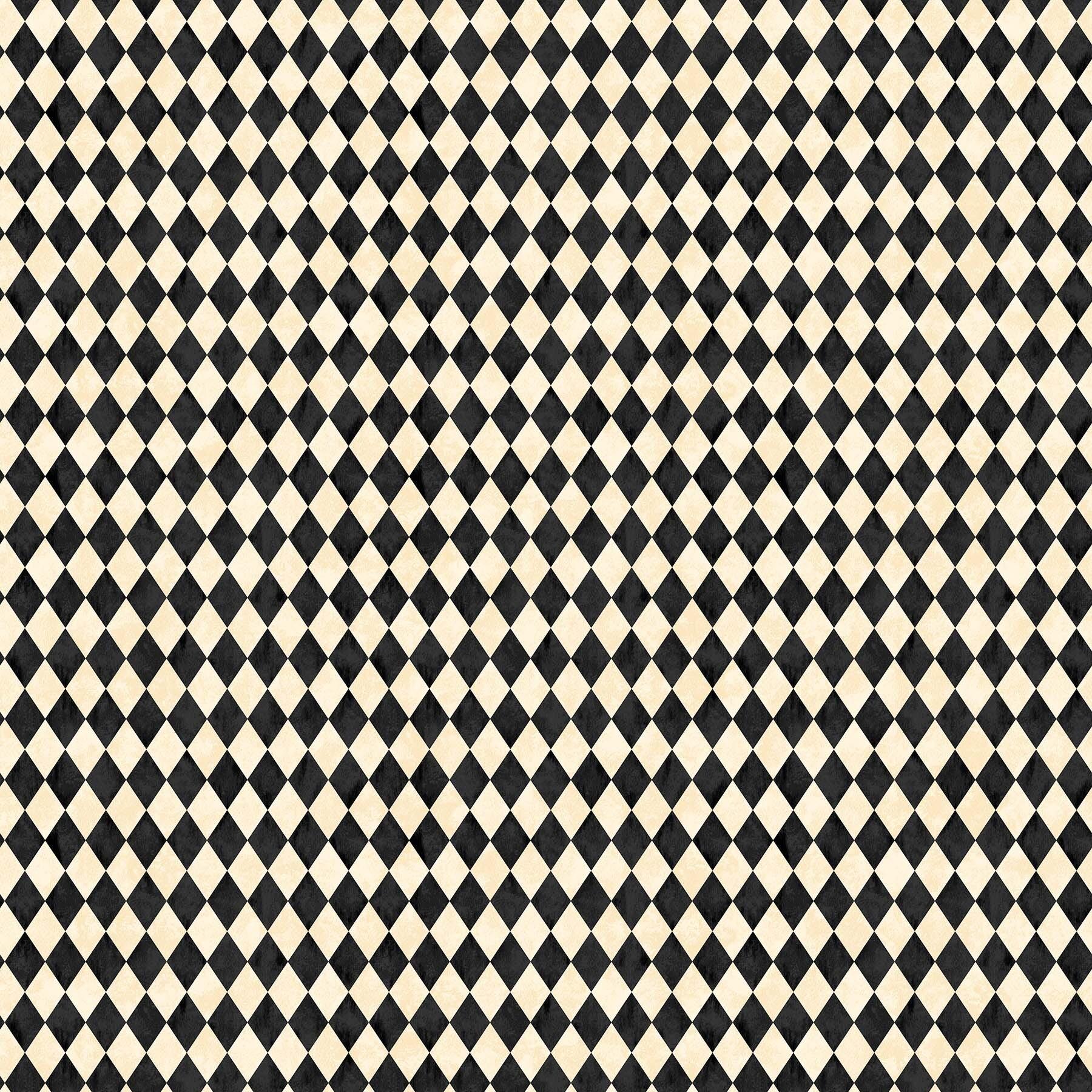 Black Cat Capers - Cream and Black Checkered - 1/2m cut 57892