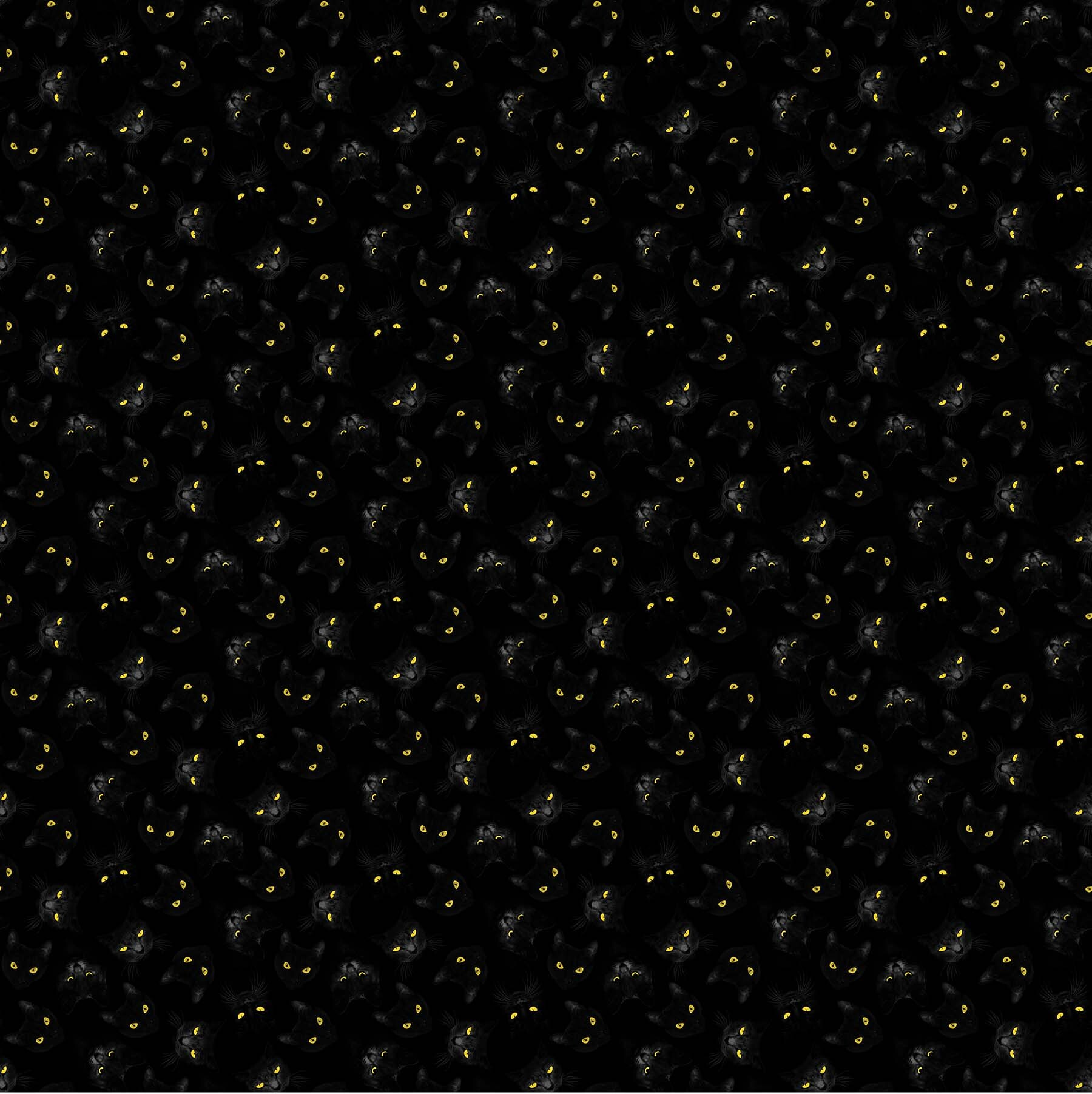 Black Cat Capers - Cat Eyes - 1/2m cut 57890
