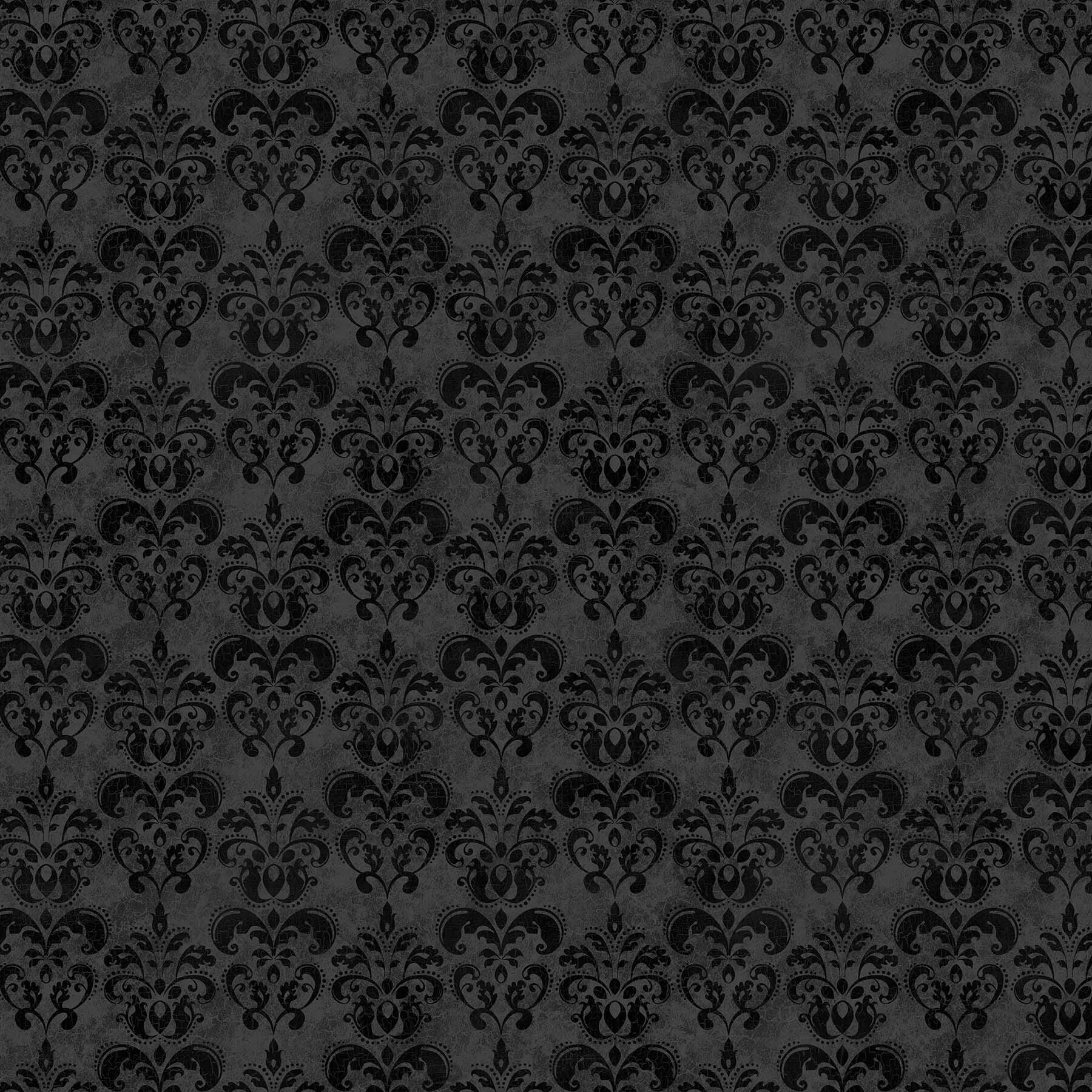 Black Cat Capers - Black Filigree - 1/2m cut 57891