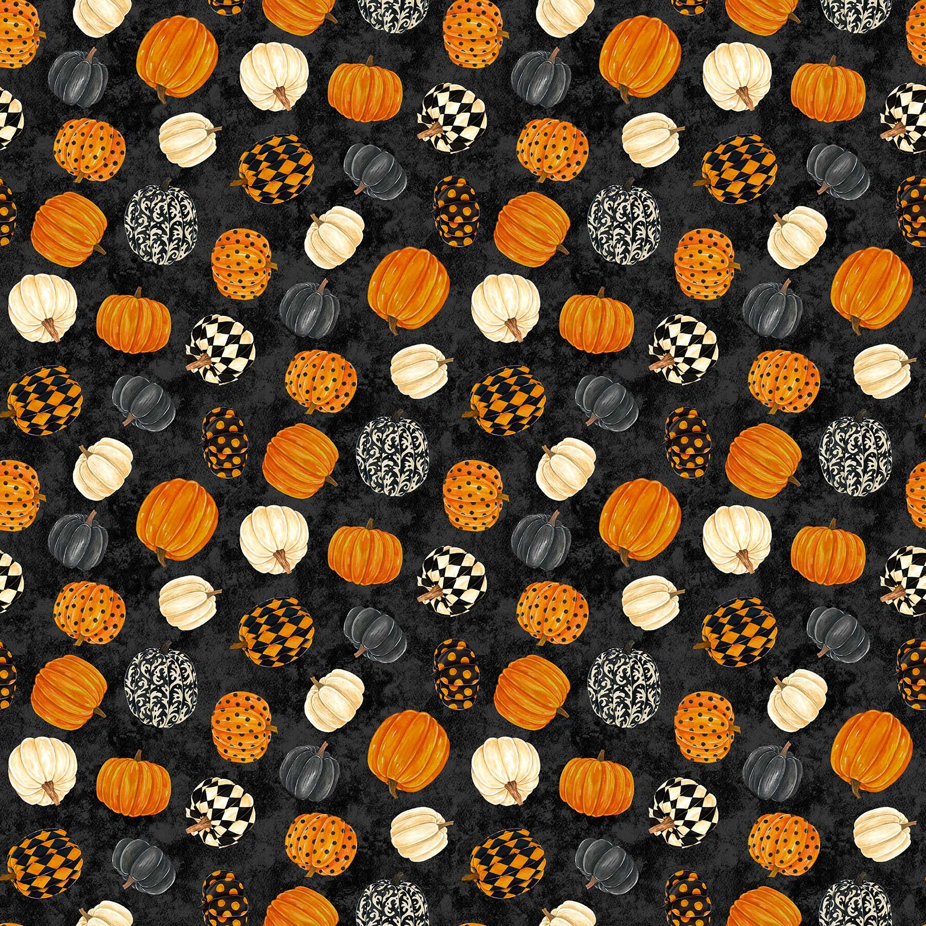 Black Cat Capers - Pumpkins on Black - 1/2m cut 57885