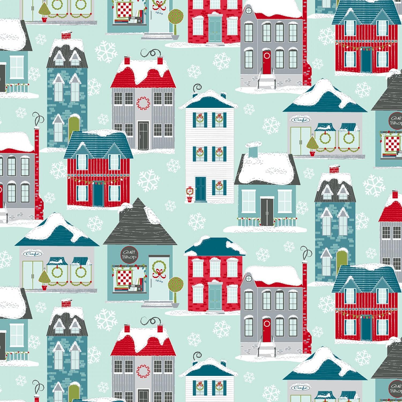 Aqua Christmas Home Town Village - Heart and Home - 1/2m cut 57900