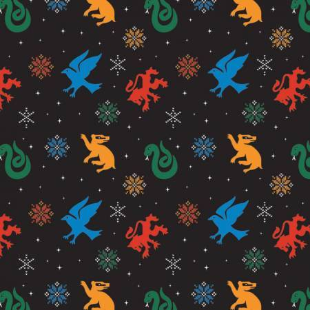 Harry Potter - Snowflakes and House Crests - 1/2m cut 57922