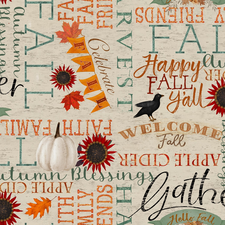 Happy Fall - Words - 1/2m cut 57949