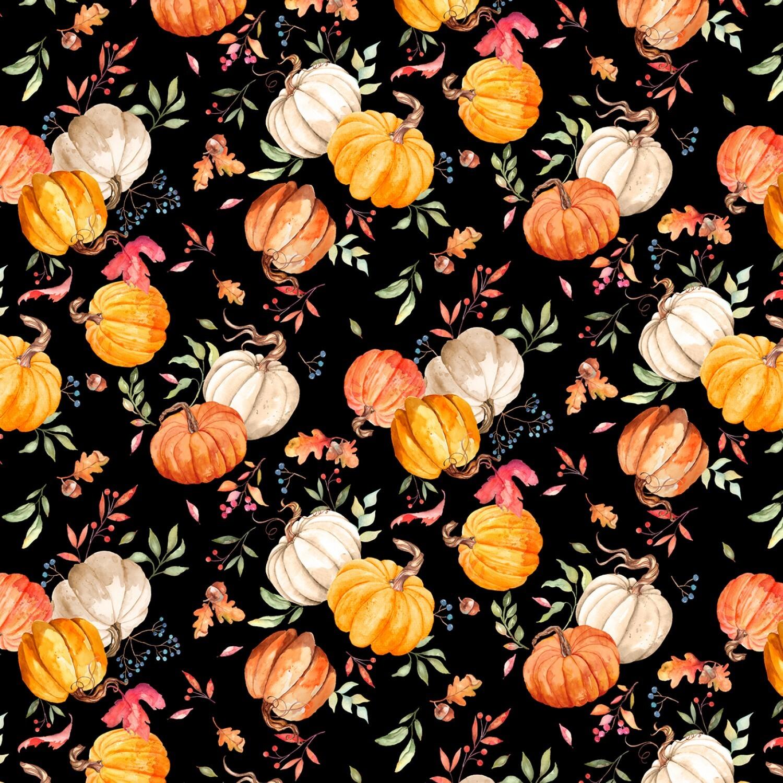 Autumn Day - Black Pumpkins - 1/2m cut 57941