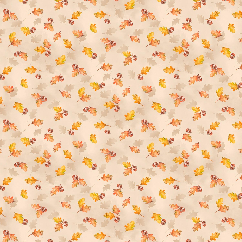 Autumn Day - Cream Leaves - 1/2m cut 57943