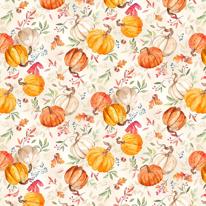 Autumn Day - Cream Pumpkins - 1/2m cut 57942
