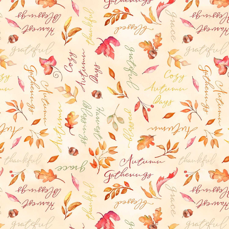 Autumn Day - Cream Words - 1/2m cut 57944
