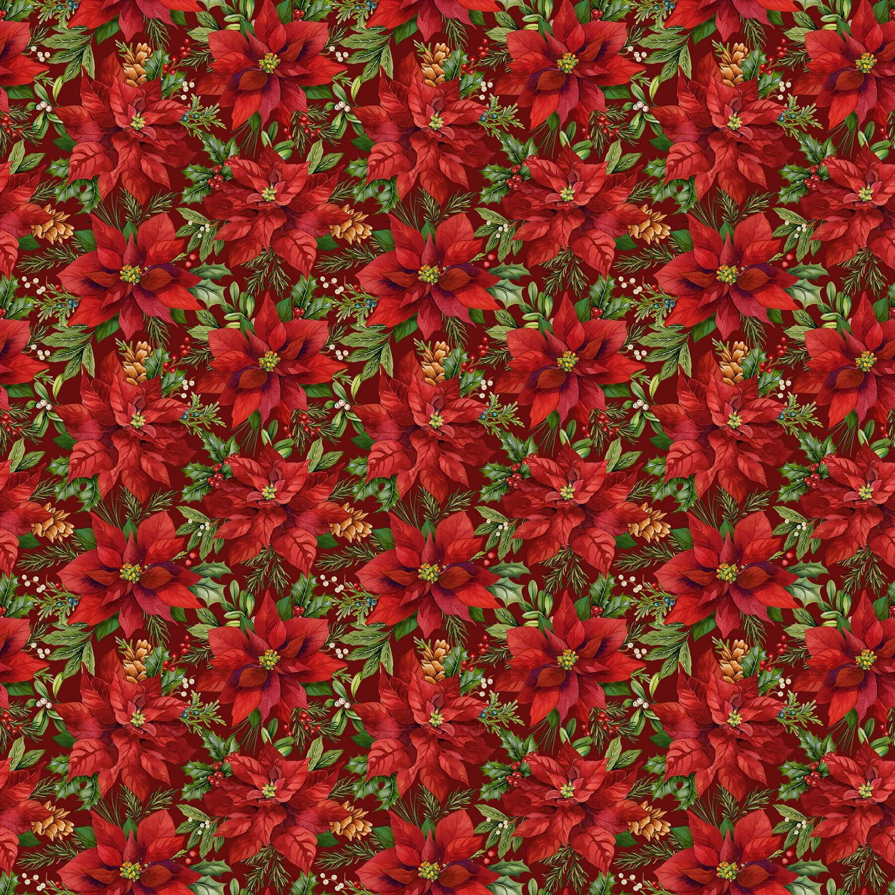 Old Time Christmas - Poinsettias on Red - 1/2m cut 57958