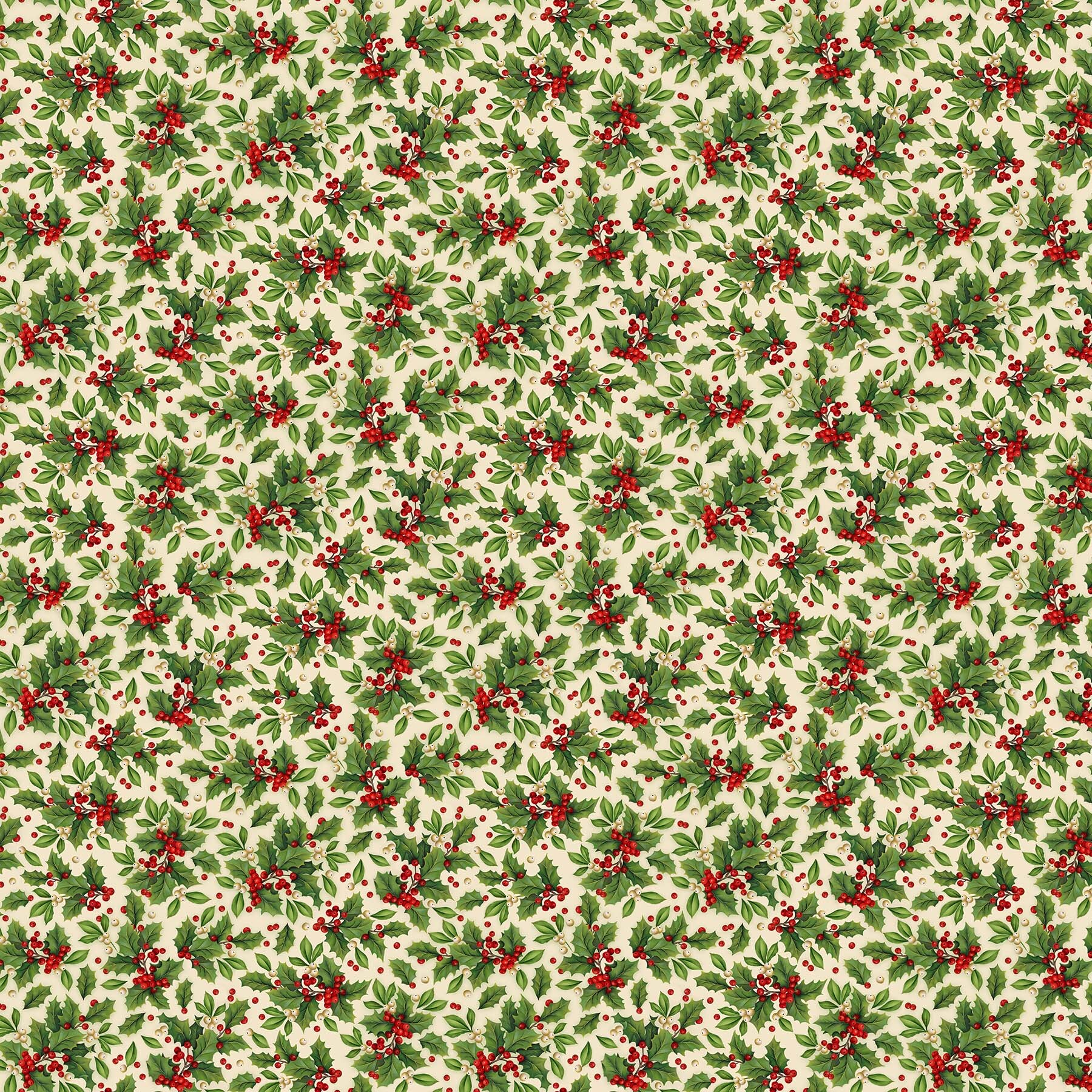 Old Time Christmas - Large Holly on Cream - 1/2m cut 57969
