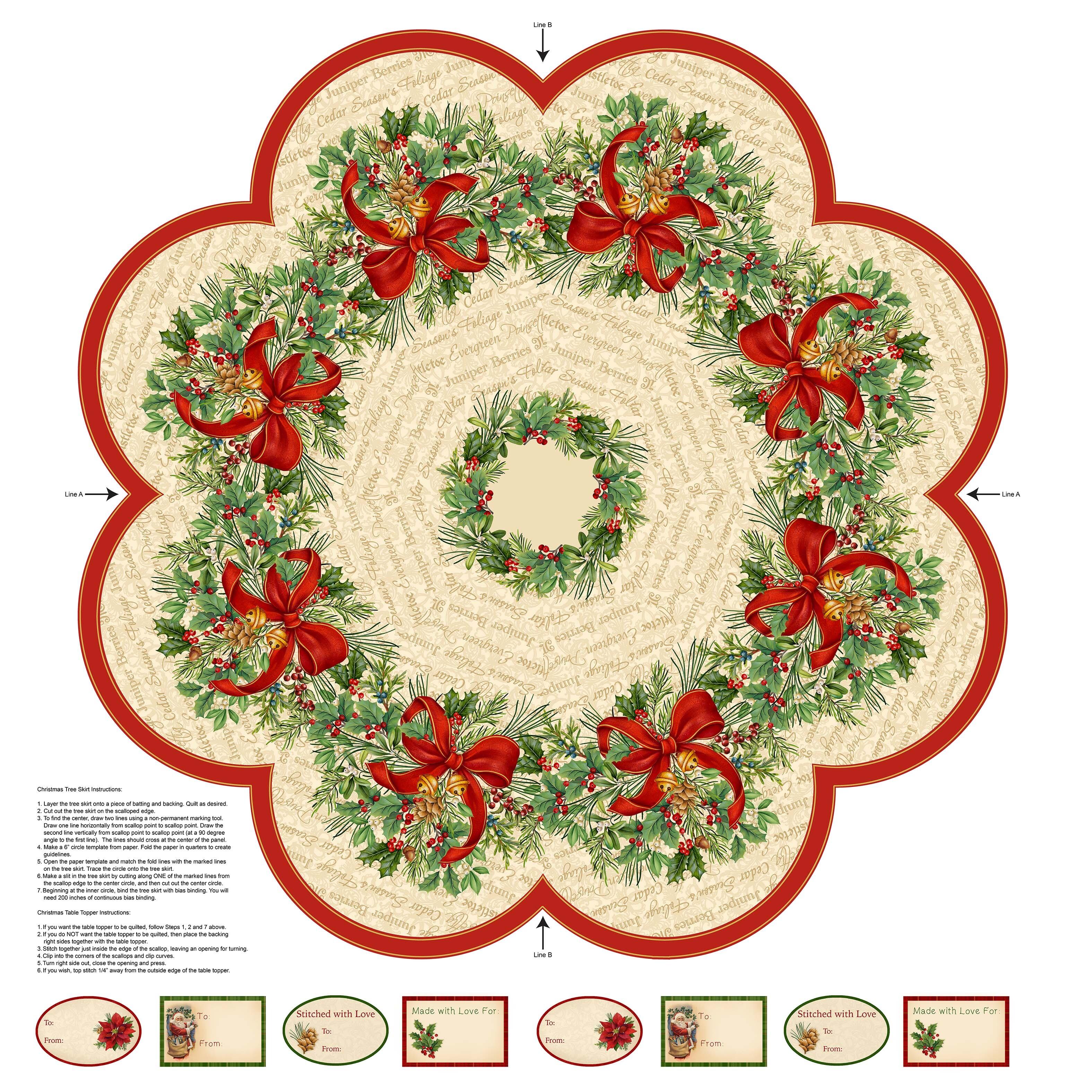 Old Time Christmas - Tree Skirt Panel 57972