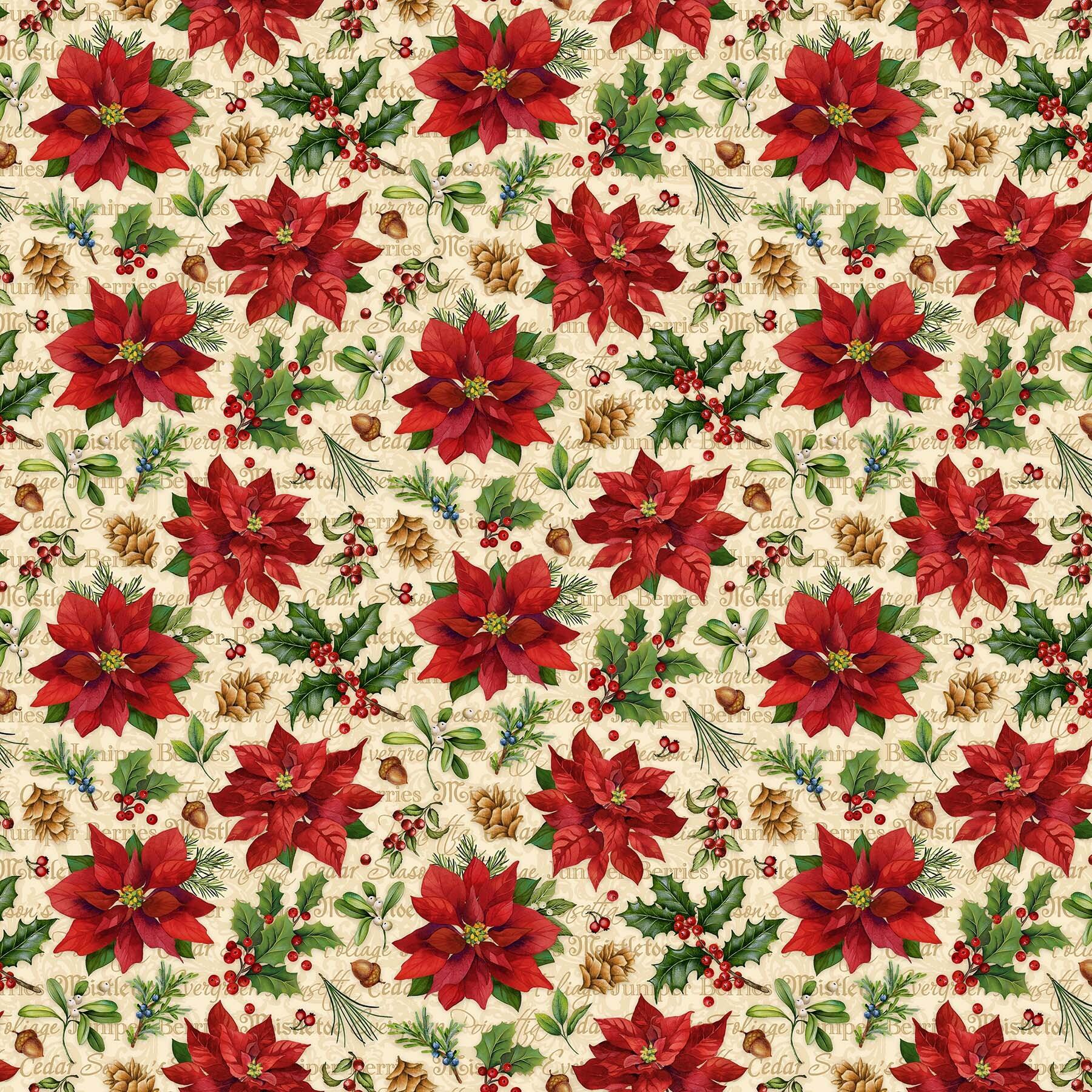 Old Time Christmas - Poinsettias on Cream - 1/2m cut 57957