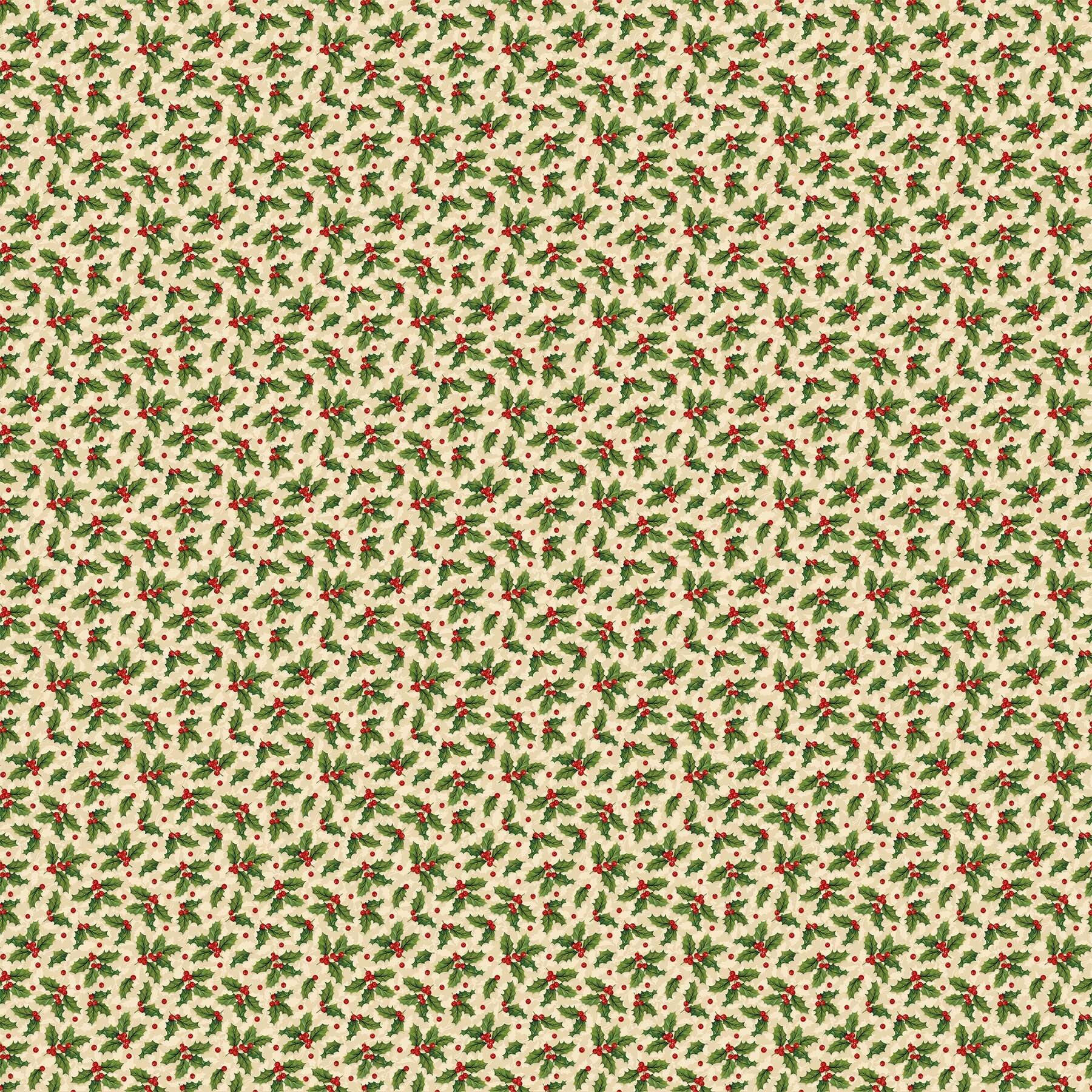 Old Time Christmas - Small Holly on Cream - 1/2m cut 57963