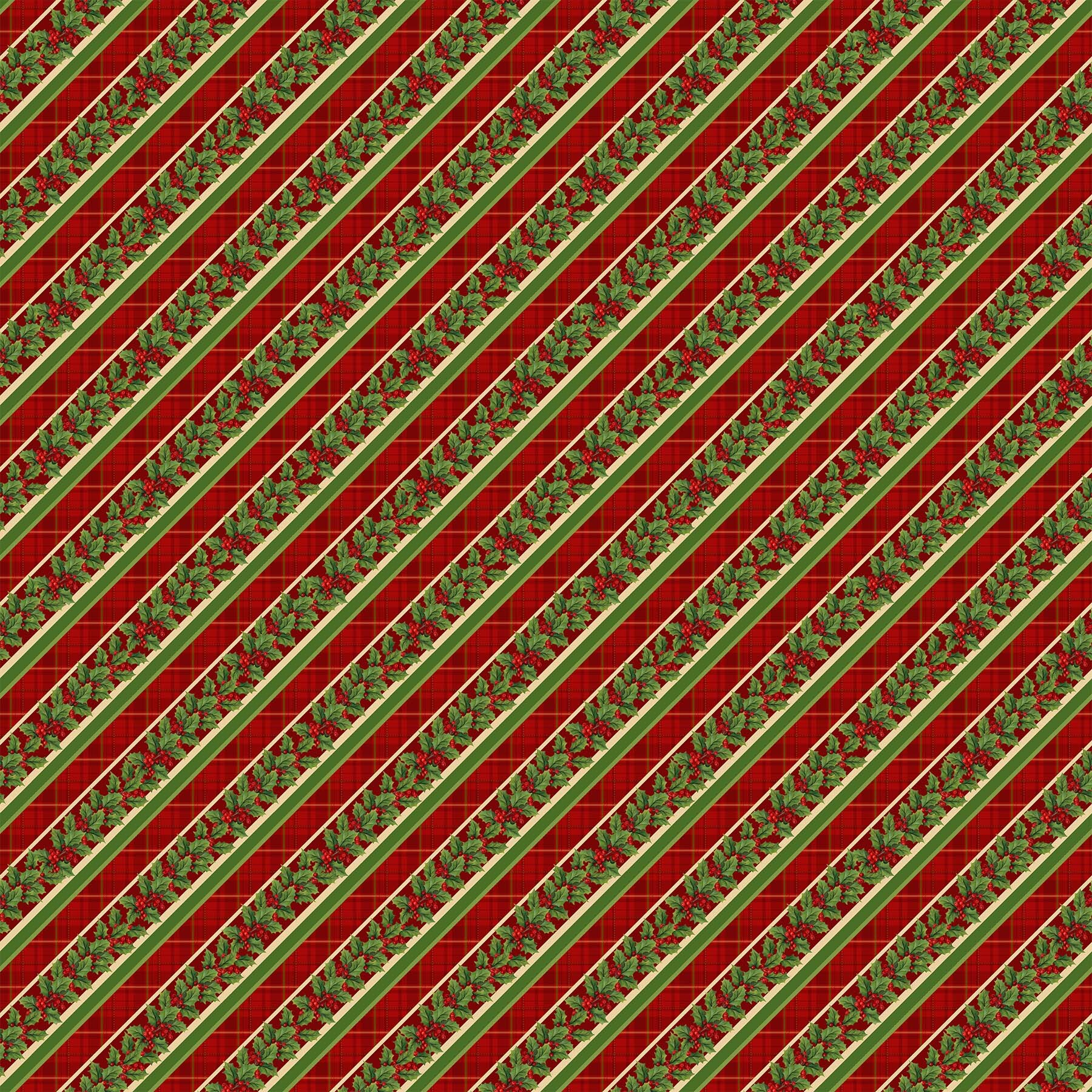 Old Time Christmas - Diagonal Holly Stripe on Red - 1/2m cut 57970
