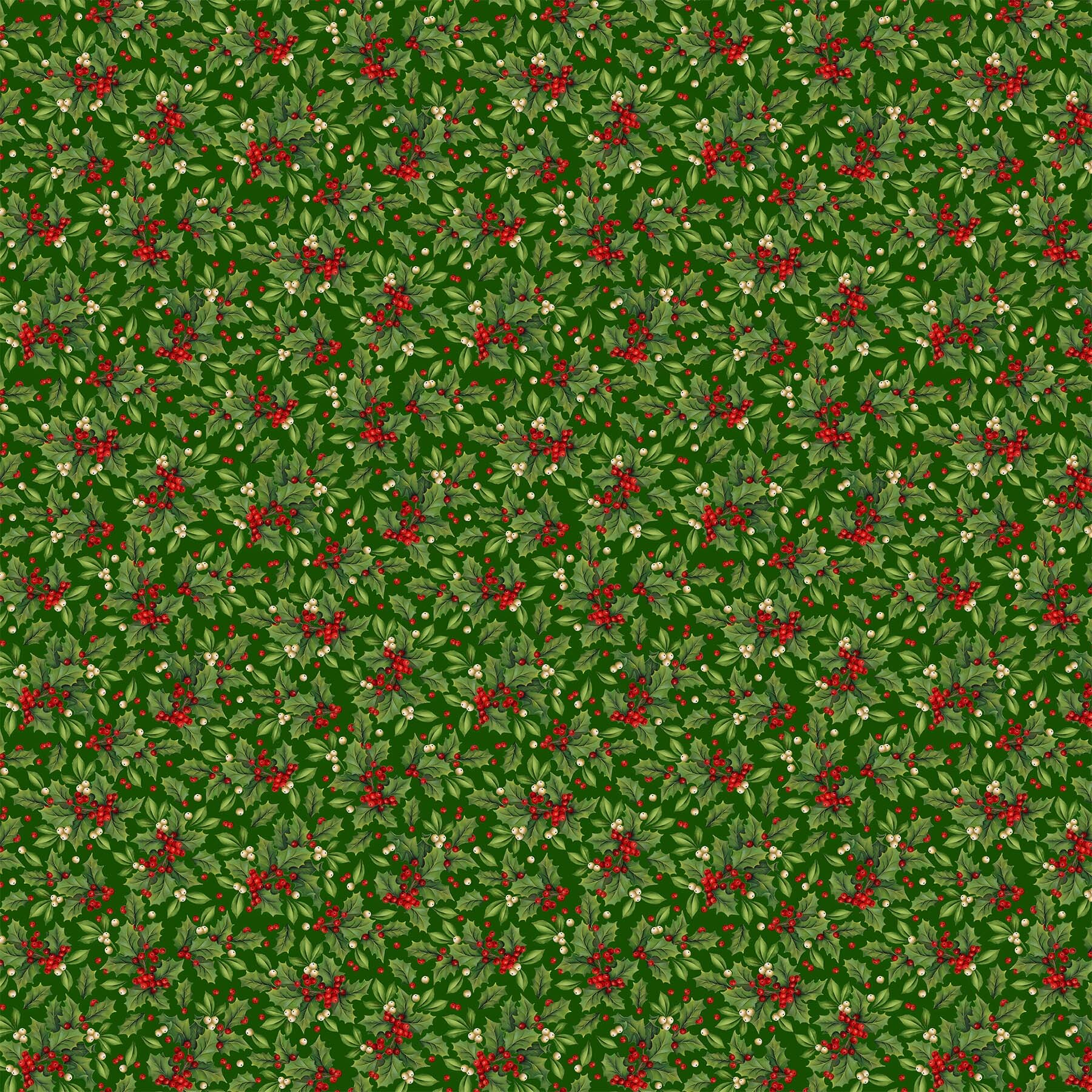 Old Time Christmas - Large Holly on Green - 1/2m cut 57967
