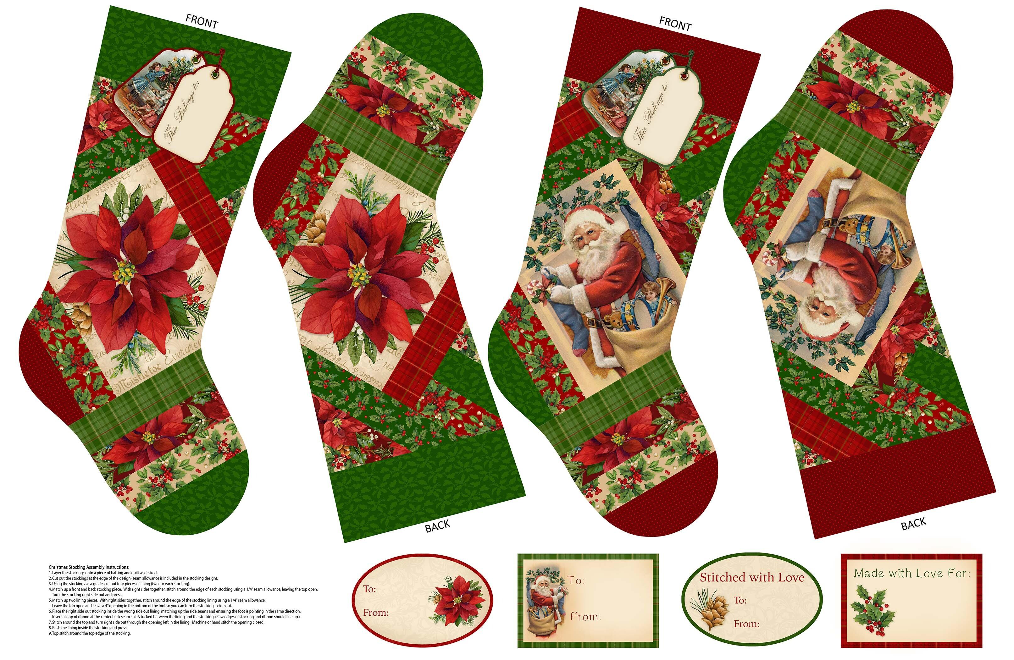 Old Time Christmas - Stocking Panel 57971
