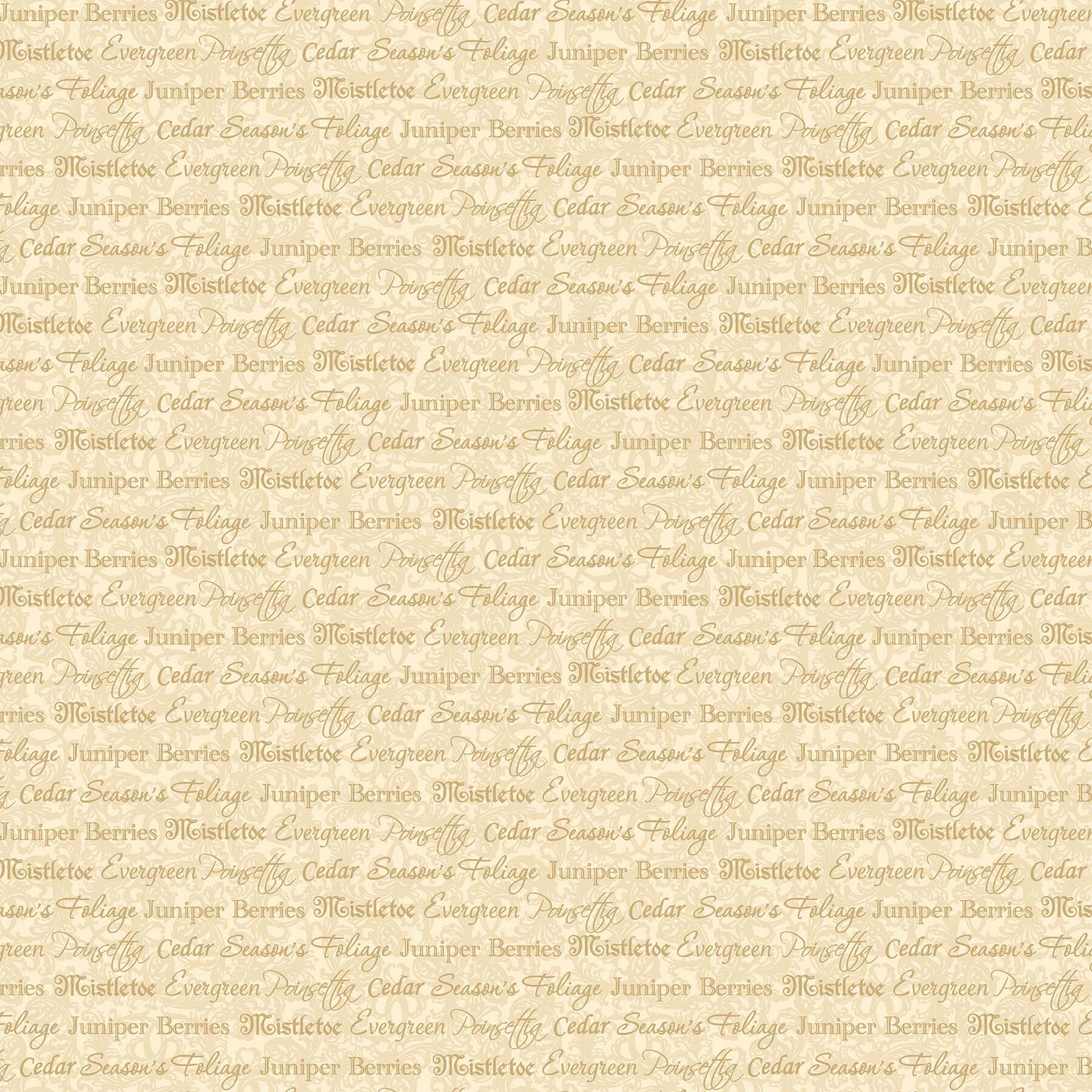 Old Time Christmas - Cream Words - 1/2m cut 57961