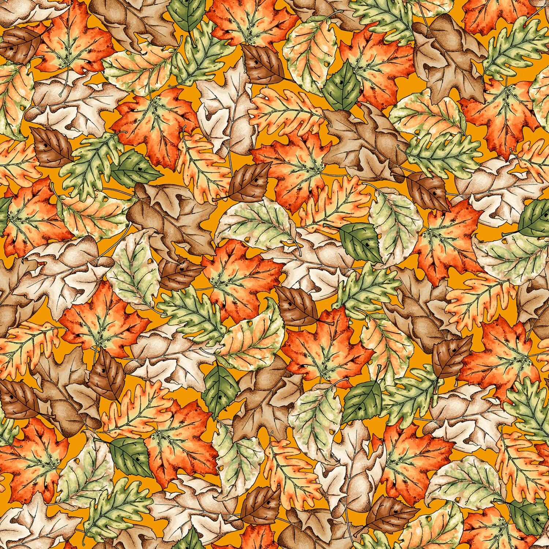 Sweater Weather - Orange Leaves - 1/2m cut 57979