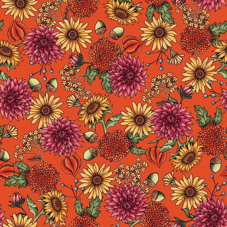 Sweater Weather - Orange Flowers - 1/2m cut 57975