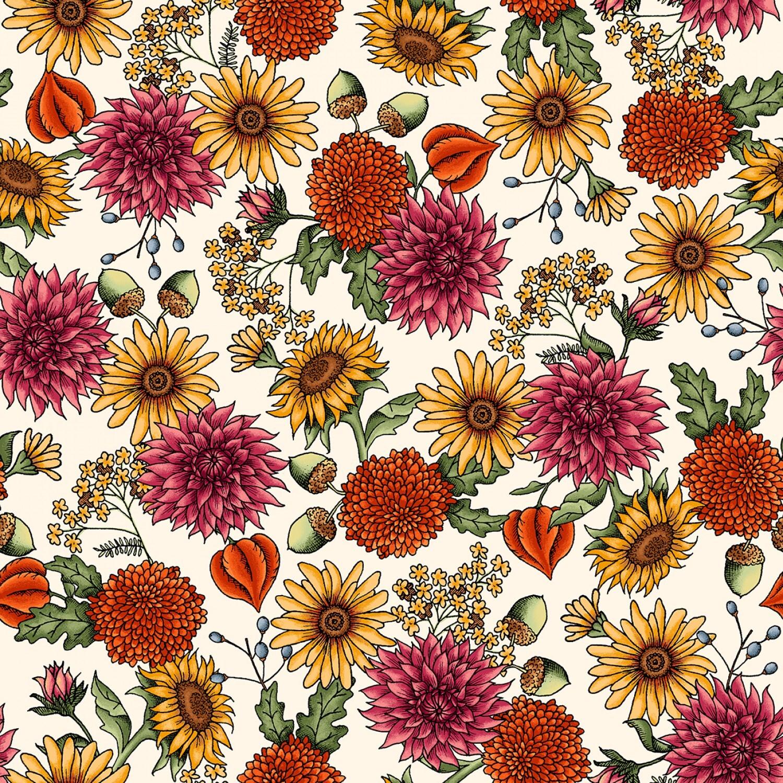 Sweater Weather - Cream Flowers - 1/2m cut 57976