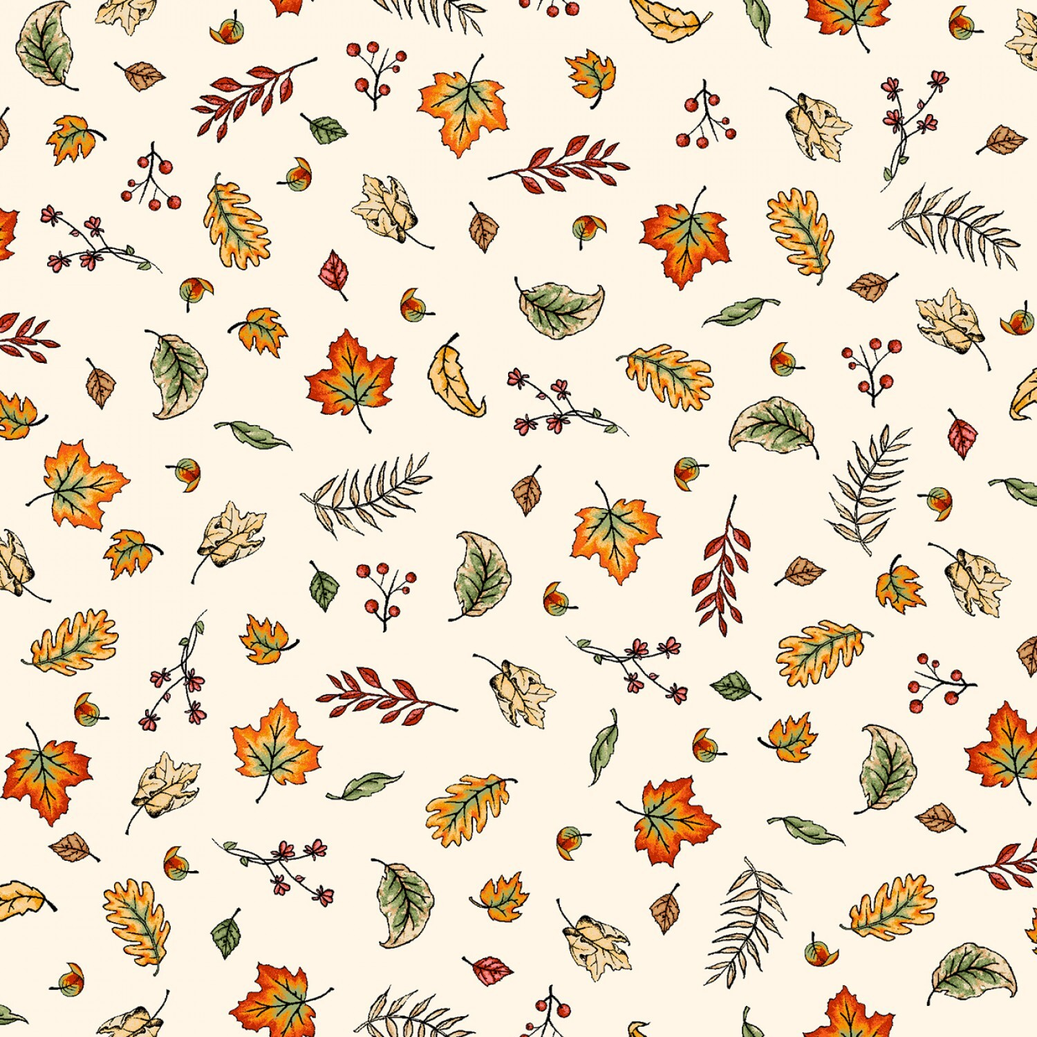 Sweater Weather - Cream Blowing Leaves - 1/2m cut 57981
